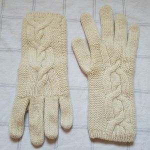 Wool & Cashmere Cable Knit Ivory Gloves